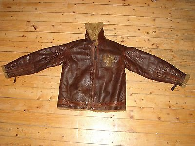 Early 1930´s two panel Irvin leather fur flight jacket English sz 40 US PAINTING