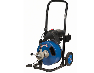 Commercial Power-Feed Drain Cleaner 50 Ft GFCI Snake Automatic Mobile Electric