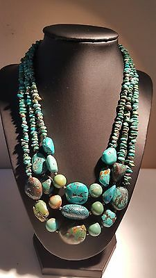 "Jay KING STR 925 Sterling Silver Triple Strand Turquoise Necklace 18-21"" Adjust."