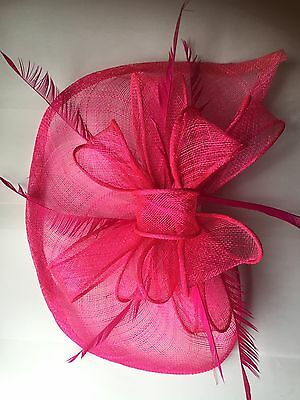 Fuchsia Pink Sinamay With Feathers Comb Hat Fascinator Ascot Ladies Day..