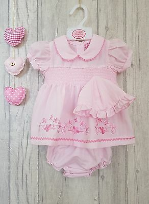 Baby Girls Gorgeous Pink Embroidered Flower Dress with Sun Hat & Bloomers