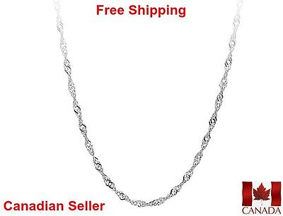 Womens Water Wave Necklace Lobster Clasp 18 20 22 inch 1.4mm 925 Sterling Silver