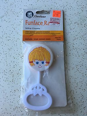 New Old Stock In Package 1987 Gerber Funface Rattle Little Girl Hard To Find