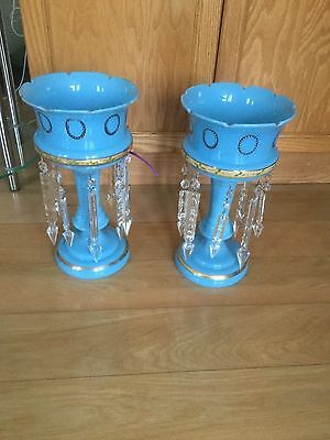 19th Century Antique Pair Opaline Blue Lusters