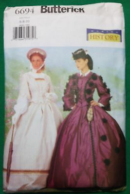 Butterick Pattern 6694 Civil War Victorian 2 pc Gown Dress Ladies 6 8 10 OOP