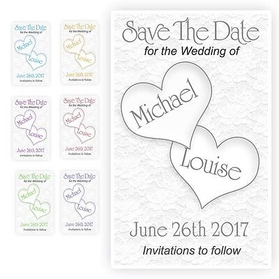 40 Save the Date Wedding Magnet Cards+ Envelopes Personalised Hearts