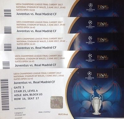 2017 JUVENTUS v REAL MADRID CHAMPIONS LEAGUE FINAL USED TICKET WITH NAMES