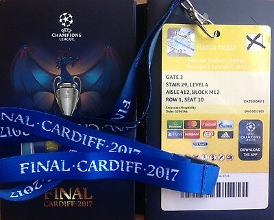 2017 JUVENTUS v REAL MADRID CHAMPIONS LEAGUE FINAL VIP TICKET LANYARD IN BOX