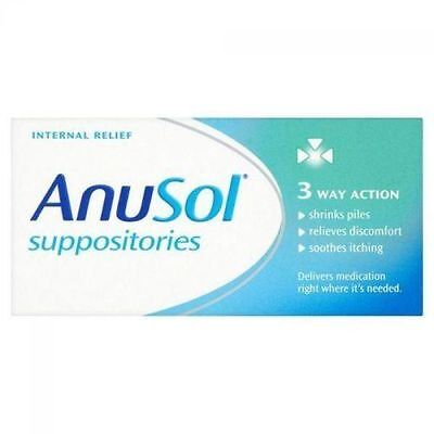 Anusol 12 Suppositories Triple Action | Internal Relief From Haemorrhoid, Piles