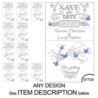 100 Save the Date Wedding Magnet Cards+ Envelopes Vintage Hearts or Butterflies