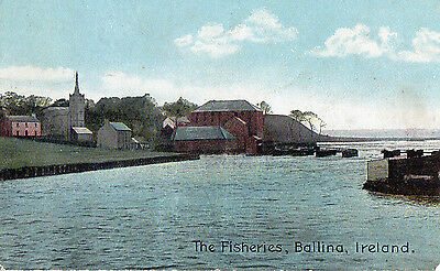 The Fisheries Ballina Mayo Ireland Irish Postcard Posted 27-May-1918