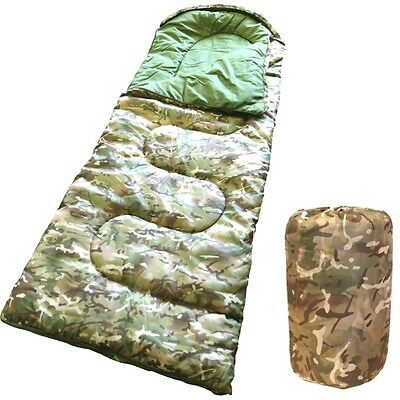 Kids Camouflage Sleeping Bag + Compression Sack Boys Army Bedding Cadet Btp Camo