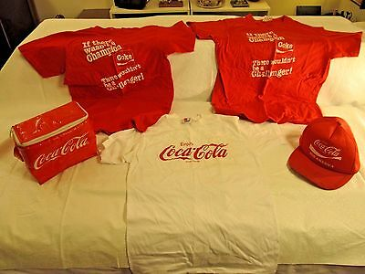 Coca-Cola Lot of 5 Great collectibles 3 Shirts 1 Trucker Hat 1 Lunch Pack