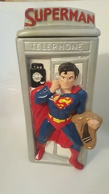 Original Rare Silver HTF Superman Phone Booth Cookie Jar from 1978 released by '