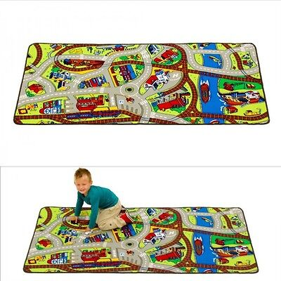 "Cars Play Rug Floor Mat 39"" x 79"" Children Crawling Carpet Baby Kids Road Rugs"