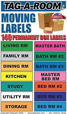 Tag-A-Room House Moving Shipping Color Coded Stickers Labels, Home Bedroom Coded
