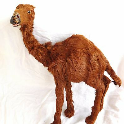 """Vintage CAMEL~Leather Fur/Hair Wrapped~Large 15""""Tall Figurine Model Dromedary"""