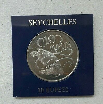 Seychelles 1974 Turtle 10 Rupees Coin in case Uncirculated