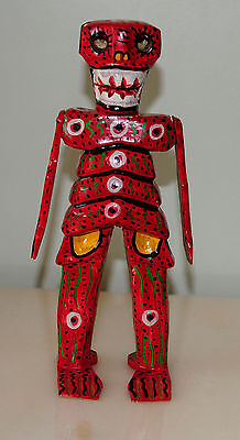 """Guatemalan Skeleton Day of the Dead Figuirine Hand Carved Wood 10 1/4"""""""