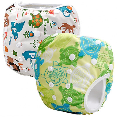 Storeofbaby 2pcs Reusable Baby Swim Diapers (Pack of 2) (White Green)