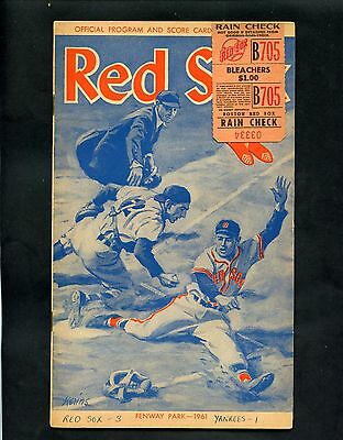 1961 Boston Red Sox Vs Yankees Fenway Park Score Card W/ Ticket Stub See Scan