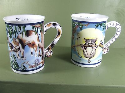 Set Of Two Comical Cats Porcelain Mugs, Gary Patterson, Danbury Mint Nib