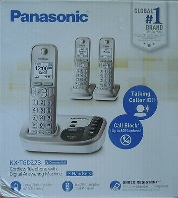 Panasonic Expandable DECT 6.0 Cordless Phone with 3 Handsets   KX-TGD223N