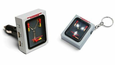 Back To The Future Flux Capacitor Light Up Usb  Phone Car Charger & Keychain Set