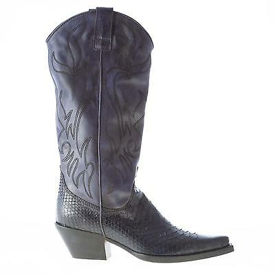 be4c5daa705f MARIA CRISTINA WOMEN shoes Blue leather cowboy boot with python details -   339.97