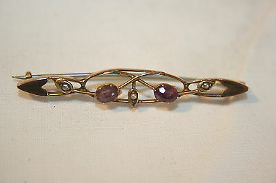 Antique 9Ct rose gold, amethyst and seed pearl Edwardian brooch