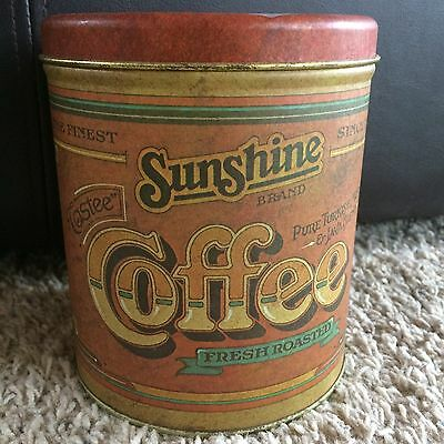 Vtg 1970's Ballonoff Tin Sunshine Coffee Canister Can Farm House Country Rustic