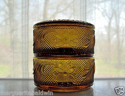 Tiara Indiana Glass Amber Sandwich 2 Tier Trinket Puff Box & Cover