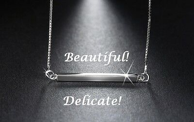 925 Sterling Silver Horizontal Bar Necklace Sideways Charm Pendant Gift For Her