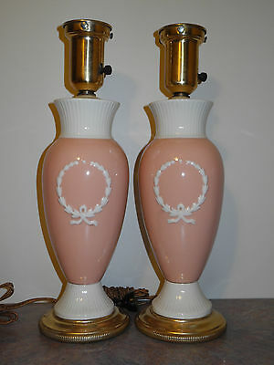 Antique Pair Pink White Wreath Lenox China Lamp Rewired