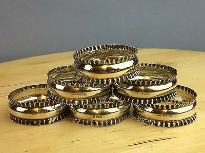 Vintage Solid Silver 6 X Pie Crusted Napkin Rings Ship Worldwide