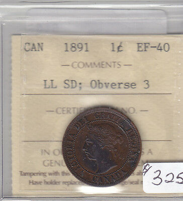 1891 Ll Sd Obv 3 Canadian Large Cent Coin Iccs Cert Ef-40