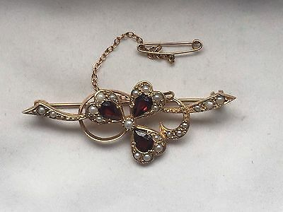 Proper Hallmark 9k Gold Seed Pearl And Garnet Gold Flower Brooch-5.3g