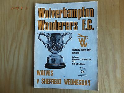 Wolverhampton Wanderers v Sheff Wed  - League Cup  - 4th Oct 1972