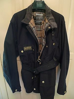 Barbour- A7 International Waxed Cotton Jacket In Black- Made In England-Size 48