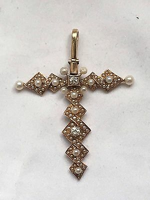 Antique Tested 18k Seed Pearl And Two Good  Diamonds Cross Gold Pendant-4.4g