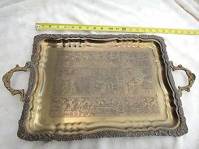 Large Vintage Egyptian Revival Engraved Brass Serving Tray Hieroglyphics 30+ yrs