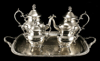 Birmingham Silver Co 5 Piece Tea Set Silver over Copper w/ Tray Grape Theme
