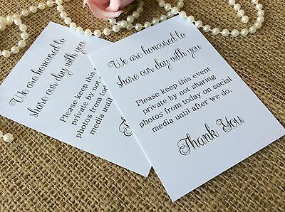20 X Wedding No Photos On Social Media Sign Thank You Poem Tags Instagram