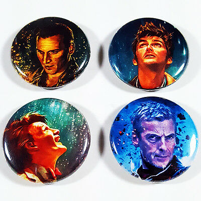 """DOCTOR WHO 4 1 Inch Pinback Button Set 9 10 11 12 th Dr New Series Pins Badge 1"""""""
