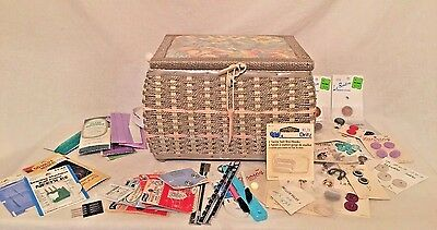 """Sewing Basket / Box with contents - Silver & Pink Color - 11"""" by 8"""" by 8"""""""