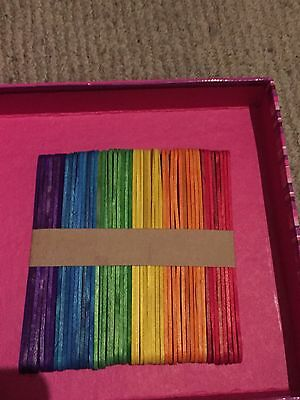 25x Coloured Wooden Craft Sticks Paddle Pop Sticks Ice Cream 11.5cm x 1cm