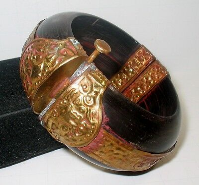 Antique African Africa Carved Horn Hinge Bangle Bracelet Repair Haute Couture