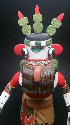 "VINTAGE Authentic Hopi Tribe Kachina Doll ""CACTUS"" Signed Deloria Adams 14"""