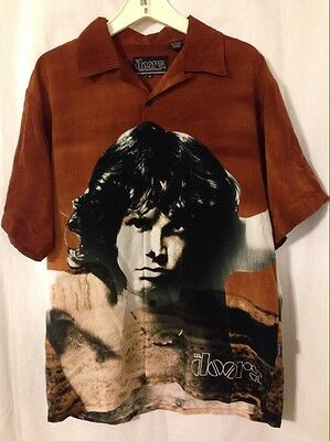 Rare Jim Morrison Doors All Over Graphic Button Down Shirt Medium By Dragonfly