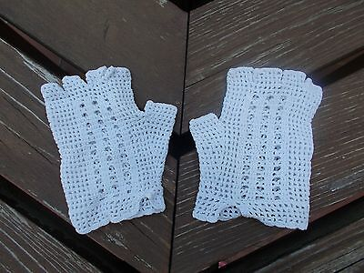 Mitaines crochet coton blanc taille 8-10 ans